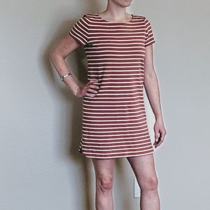 Ann Taylor Mauve and White Stripped Shift Dress